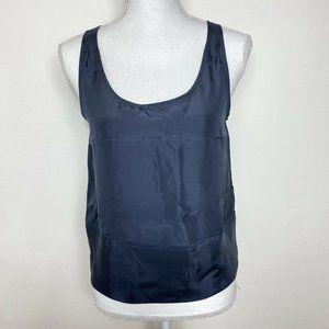 Vintage Chris Benz Womens Top Blue Silk Sleeveless
